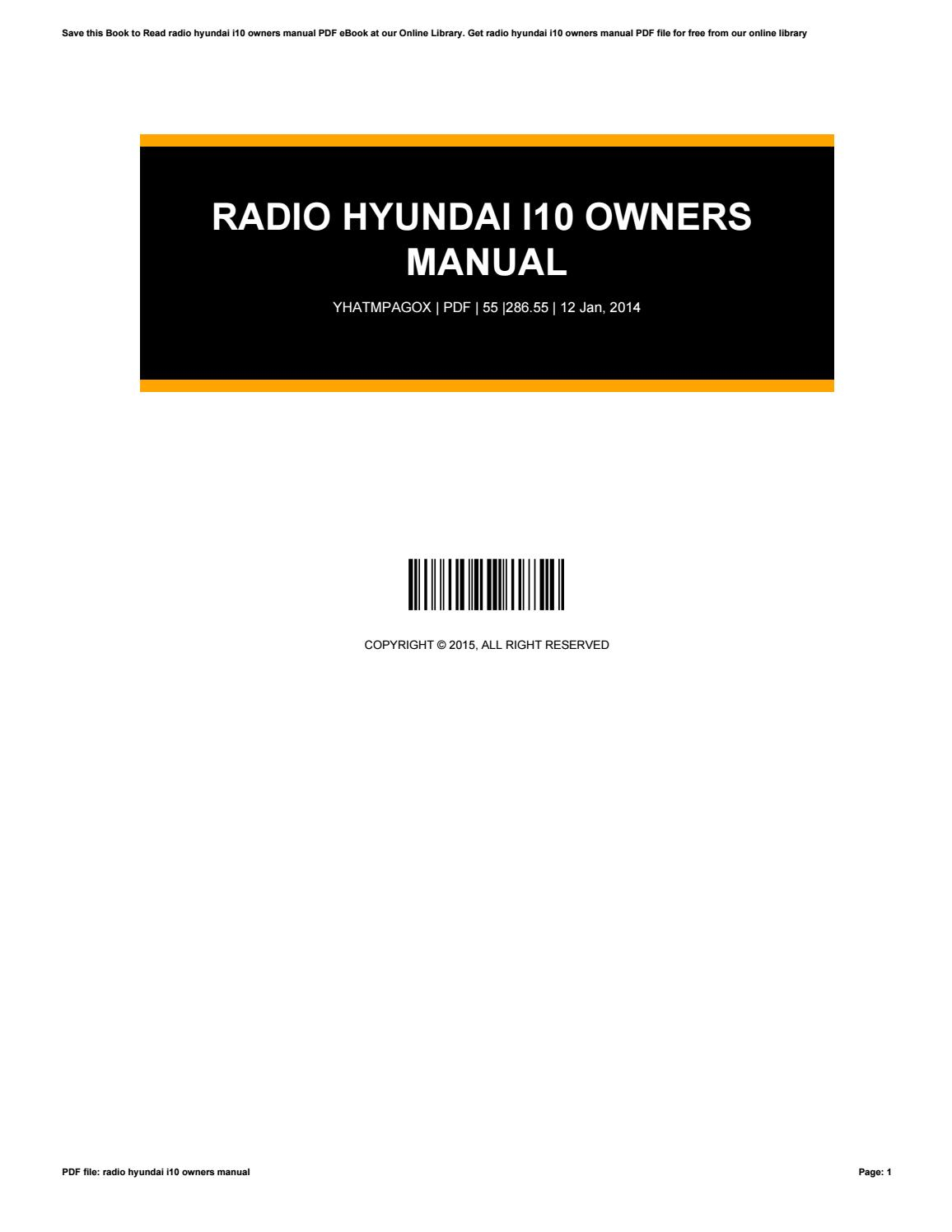 Radio Hyundai I10 Owners Manualrobert - Issuu